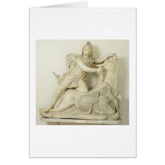 Mithras Sacrificing the Bull, Marble relief, Roman Card
