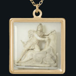 """Mithras Sacrificing the Bull, Marble relief, Roman Gold Plated Necklace<br><div class=""""desc"""">Image:60792  Mithras Sacrificing the Bull,  Marble relief,  Roman,  2nd century.  Museo Archeologico,  Venice,  Italy.  Art,  Fine Art.</div>"""