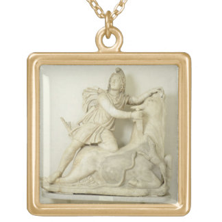 Mithras Sacrificing the Bull, Marble relief, Roman Gold Plated Necklace