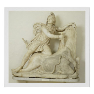 Mithras Sacrificing the Bull, Marble relief, Roman Poster
