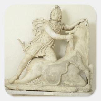 Mithras Sacrificing the Bull, Marble relief, Roman Square Sticker