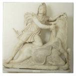 "Mithras Sacrificing the Bull, Marble relief, Roman Tile<br><div class=""desc"">Image:60792  Mithras Sacrificing the Bull,  Marble relief,  Roman,  2nd century.  Museo Archeologico,  Venice,  Italy.  Art,  Fine Art.</div>"