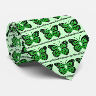 Mitochondrial Disease Awareness Butterfly Ribbon Neck Tie