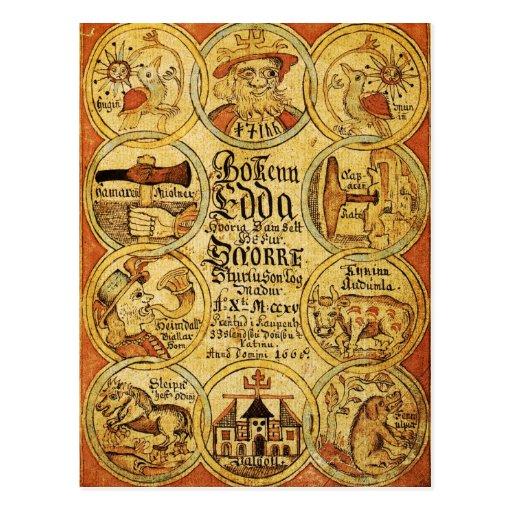 Mitología de los nórdises de Edda Tarjeta Postal
