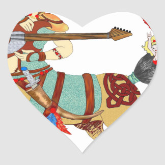 Mitología de metales pesados pegatina en forma de corazón