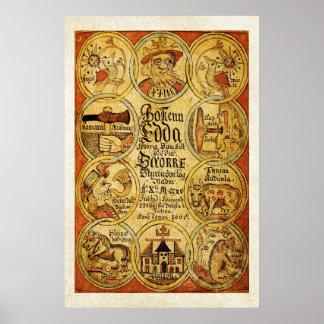 Mitología de Scandinvian de los nórdises de Edda Póster