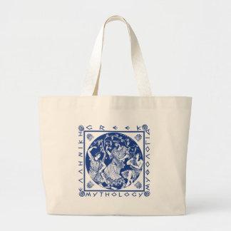 Mitología griega - azul bolsa tela grande