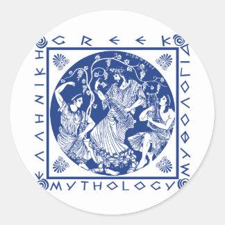 Mitología griega - azul etiqueta redonda