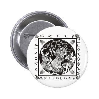 Mitología griega - negro pin redondo de 2 pulgadas