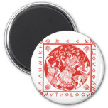 Mitología griega - rojo imán de nevera