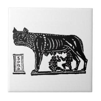 Mitología romana de Romulus y de Remus Azulejo Cuadrado Pequeño