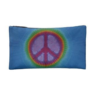 Mitón azul del teñido anudado del signo de la paz