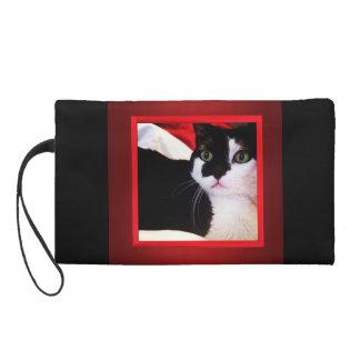 Mitón blanco y negro del gato del amor para las mu