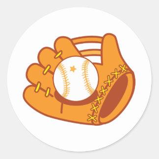 Mitón de béisbol pegatina redonda