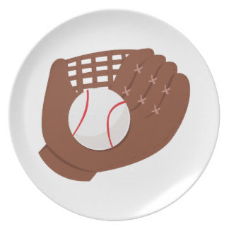 Mitón de béisbol plato de comida
