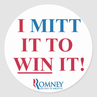 Mitón de Mitt Romney I él para ganarlo pegatina