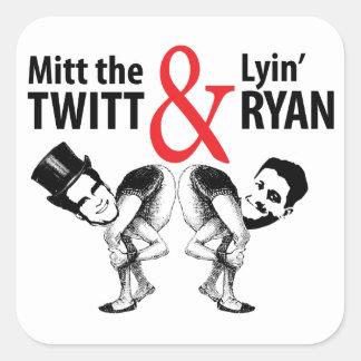 Mitón el Twitt y el Lyin' Ryan Pegatina Cuadrada