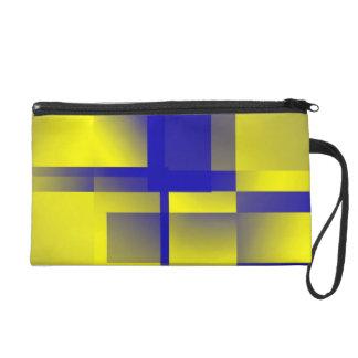 Mitón geométrico del estilo en azul y amarillo