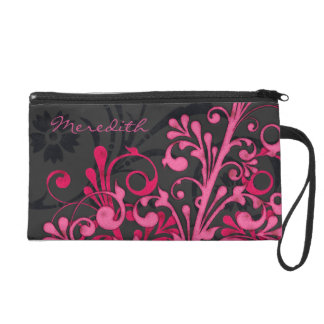 Mitón personalizado floral negro rosado elegante