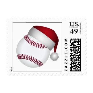 Mitón y bola de béisbol del navidad estampillas