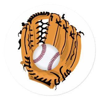 """Mitón y bola de béisbol invitación 5.25"""" x 5.25"""""""