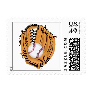 Mitón y bola de béisbol sello