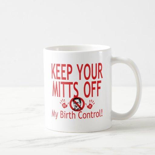 Mitones del control de la natalidad tazas de café