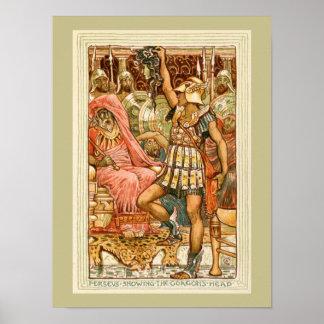 Mitos griegos antiguos Perseus por la grúa de Póster