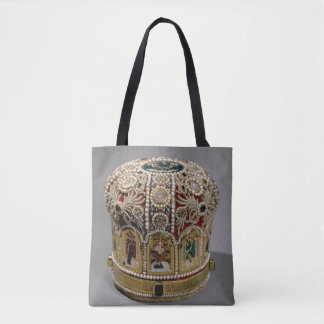 Mitre crown set with pearls and precious tote bag