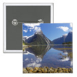 Mitre Peak, Milford Sound, Fiordland National 2 Inch Square Button