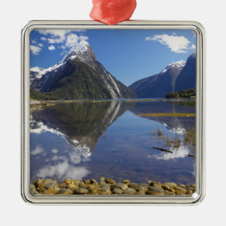 Mitre Peak, Milford Sound, Fiordland National Square Metal Christmas Ornament
