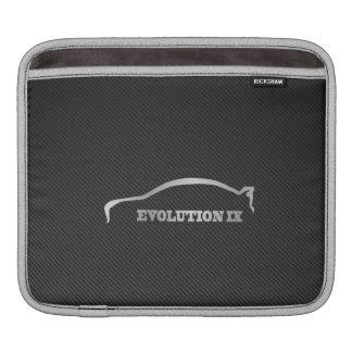 Mitsubihsi Evo 9 Logo with Faux Carbon Fiber iPad Sleeve