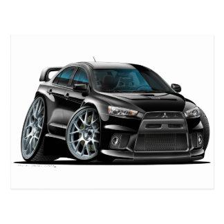 Mitsubishi Evo Black Car Postcard