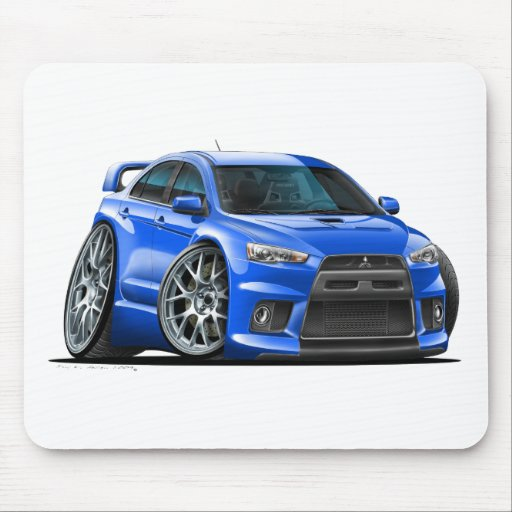 Mitsubishi Evo Blue Car Mouse Pad