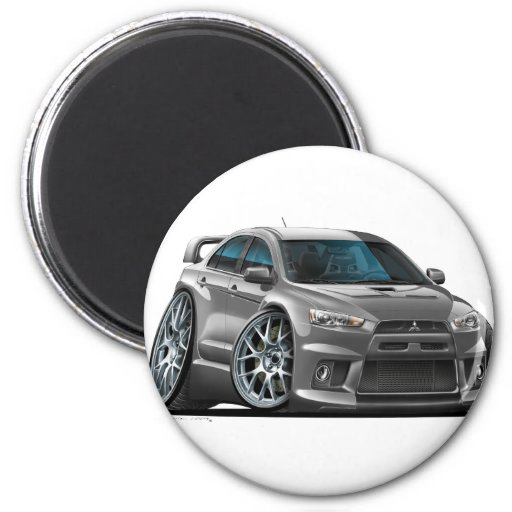 Mitsubishi Evo Grey Car Fridge Magnets