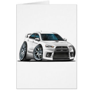 Mitsubishi Evo White Car Card