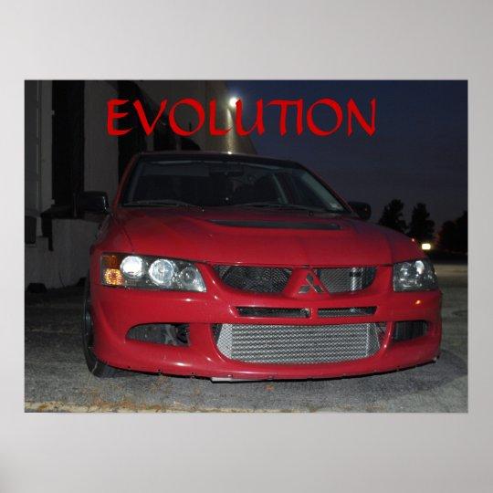Mitsubishi Evolution At Night Poster