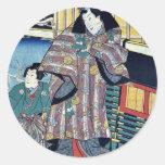 Mitsuji cerca de un carro por Utagawa, Kunisada Pegatinas Redondas