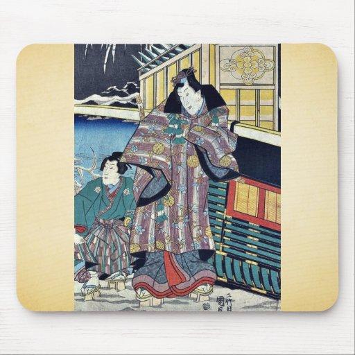 Mitsuji cerca de un carro por Utagawa, Kunisada Alfombrillas De Ratones