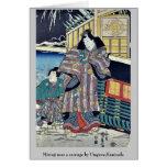 Mitsuji cerca de un carro por Utagawa, Kunisada Tarjetas