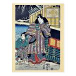 Mitsuji cerca de un carro por Utagawa, Kunisada Tarjeta Postal