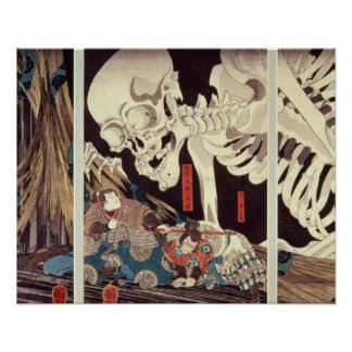 Mitsukini Defying the Skeleton Spectre, c.1845 Poster