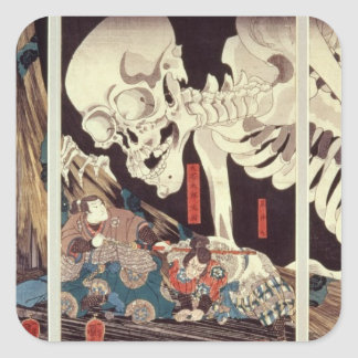 Mitsukini Defying the Skeleton Spectre, c.1845 Square Sticker