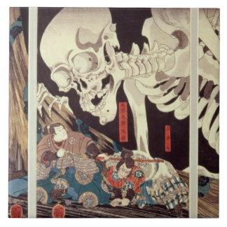 Mitsukini Defying the Skeleton Spectre, c.1845 Tile