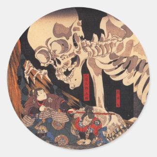 Mitsukuni que desafía el espectro esquelético etiqueta