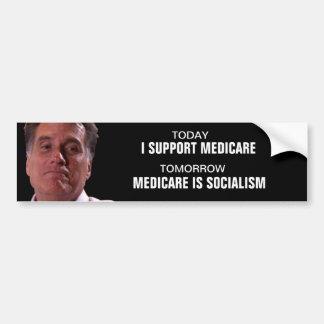 """Mitt """"flip flop"""" Romney on Medicare Car Bumper Sticker"""