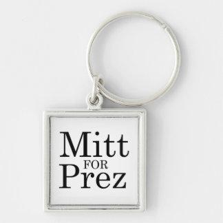 MITT FOR PREZ Silver-Colored SQUARE KEYCHAIN