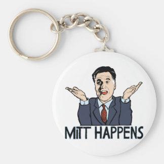 Mitt Happens Basic Round Button Keychain