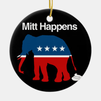 MITT HAPPENS -.png Double-Sided Ceramic Round Christmas Ornament
