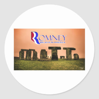 Mitt Henge - Romney, Believe in America Classic Round Sticker